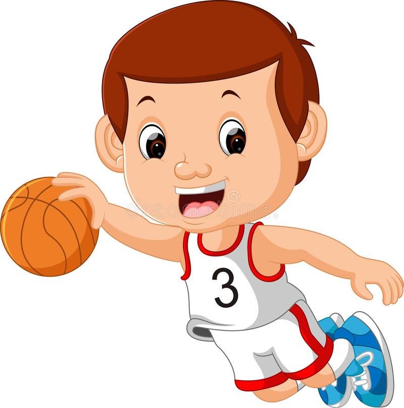 Garçons jouant le sport de basket-ball illustration stock