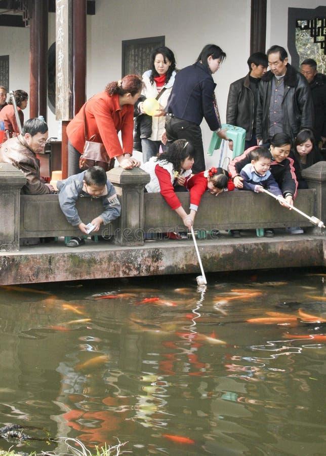 Garçons jouant les poissons d'or en parc image libre de droits