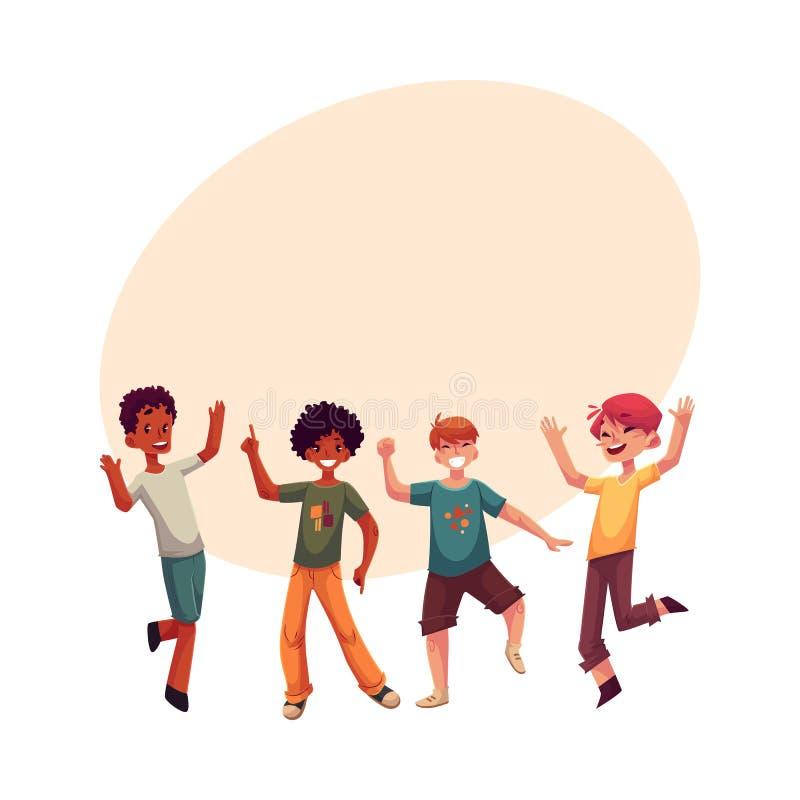 Garçons noirs et caucasiens, enfants ayant l'amusement, dansant à la partie illustration libre de droits