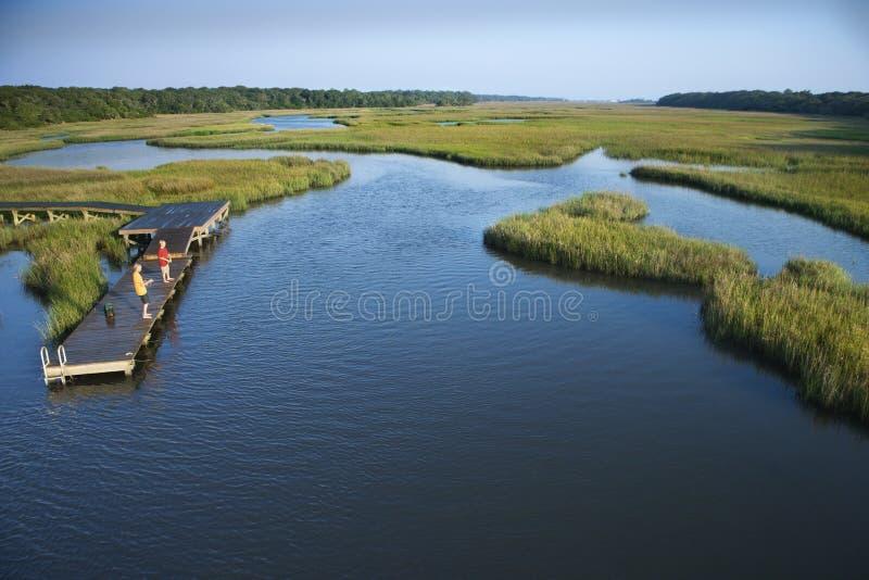 Garçons sur le dock dans le marais. photo libre de droits