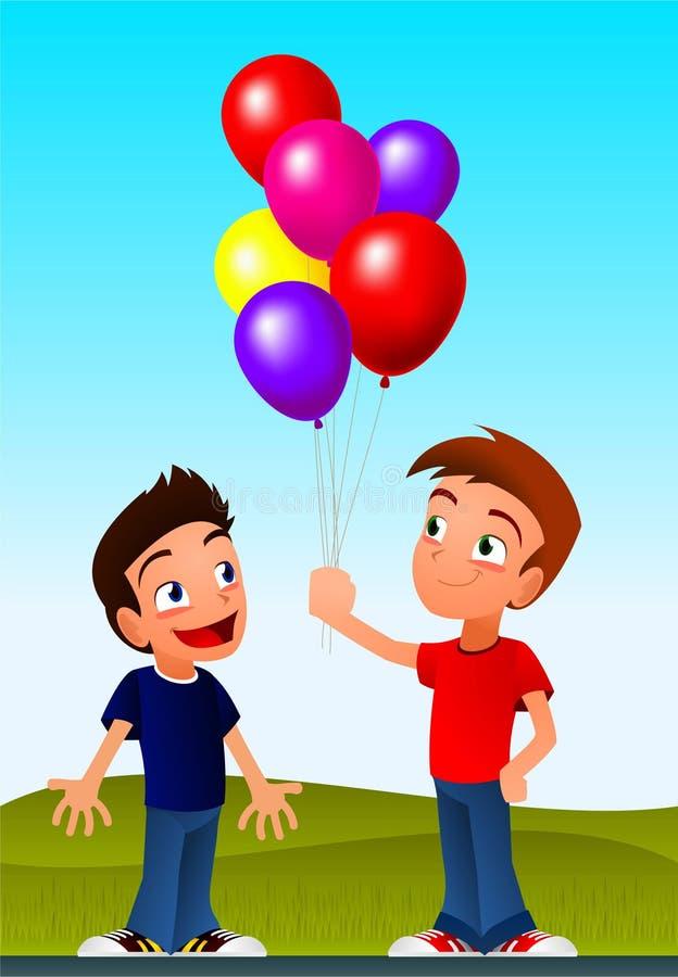 Garçons tenant des ballons illustration stock
