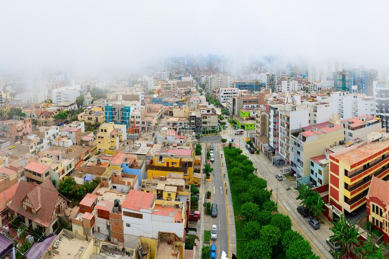 Garùa fog. Typical climate in the city of Lima capital of Peru.  royalty free stock images