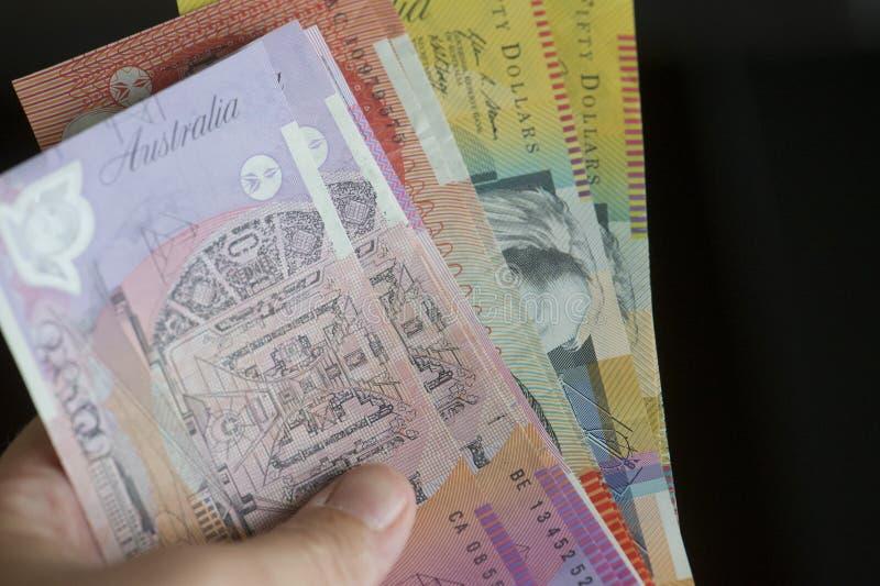 Garść australijczyka papier mony obrazy stock