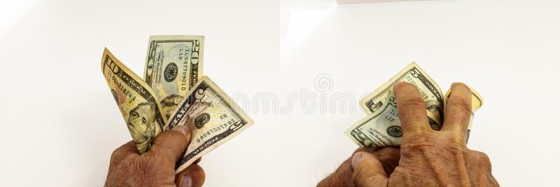 Garść pieniądze gotówkowej inwestyci kolaż zdjęcie stock