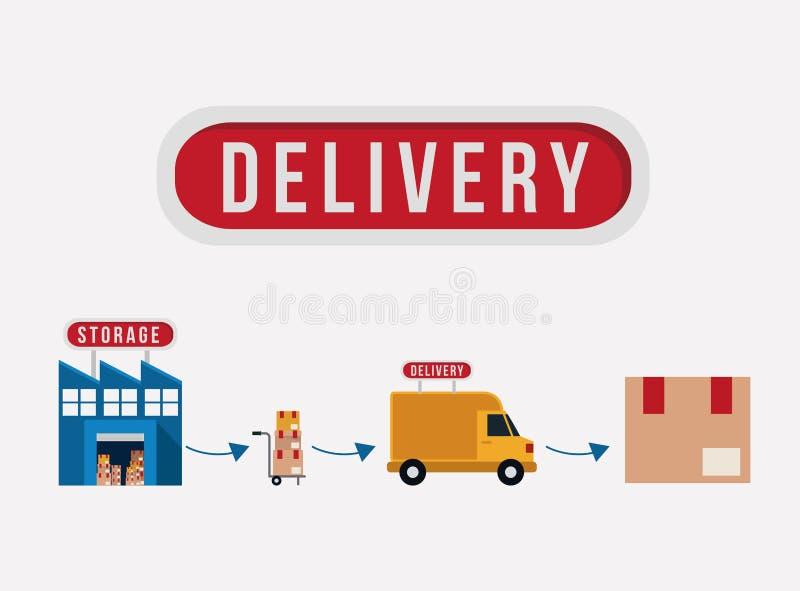 Garaż ciężarówka i pakunek doręczeniowy projekt royalty ilustracja