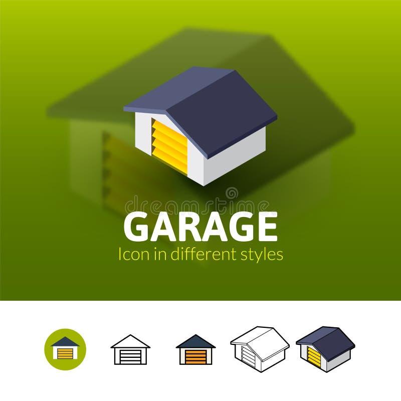 Garaż ikona w różnym stylu ilustracji