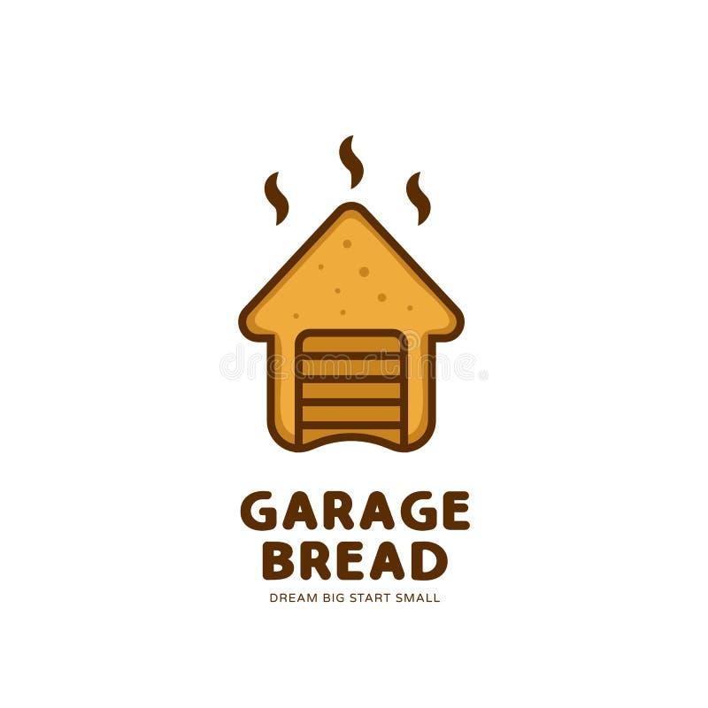 Garaż piekarni chlebowego logo wektoru unikalny prosty zaokrąglony śmieszny styl royalty ilustracja