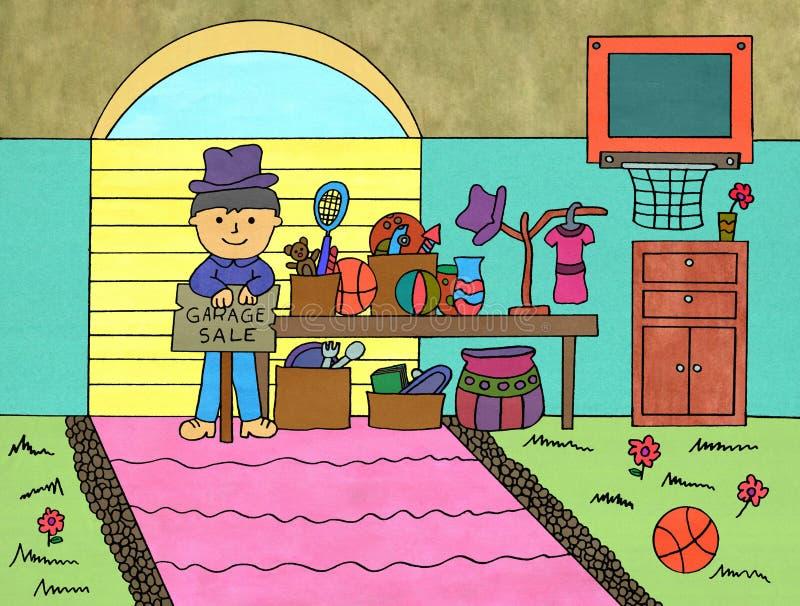 Garaż sprzedaż royalty ilustracja