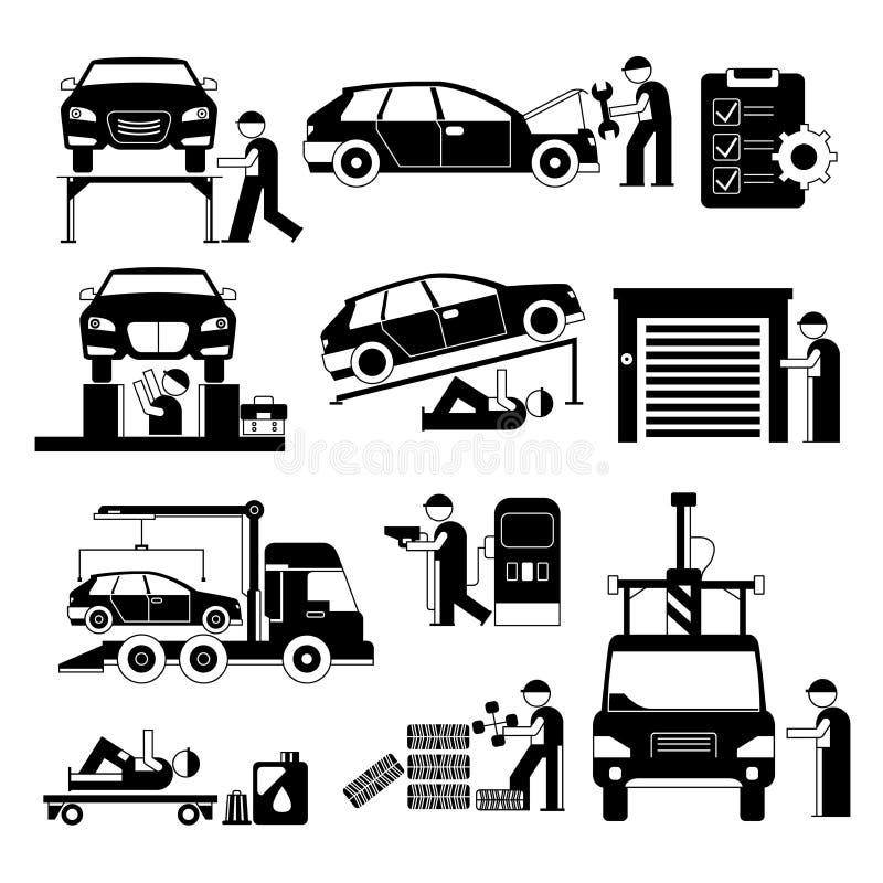 Garażu i samochodu usługowy pracownik royalty ilustracja