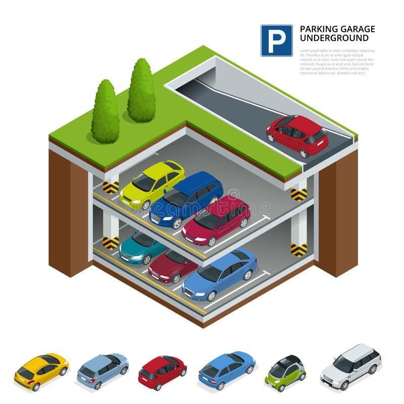 garażu parkingu pod ziemią Salowy parking samochodowy Miastowa samochodowa parking usługa Mieszkania 3d isometric wektorowa ilust ilustracji