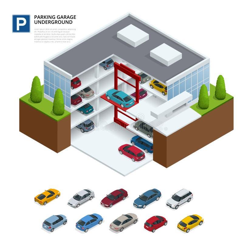 garażu parkingu pod ziemią Salowy parking samochodowy Miastowa samochodowa parking usługa Mieszkania 3d isometric wektorowa ilust ilustracja wektor
