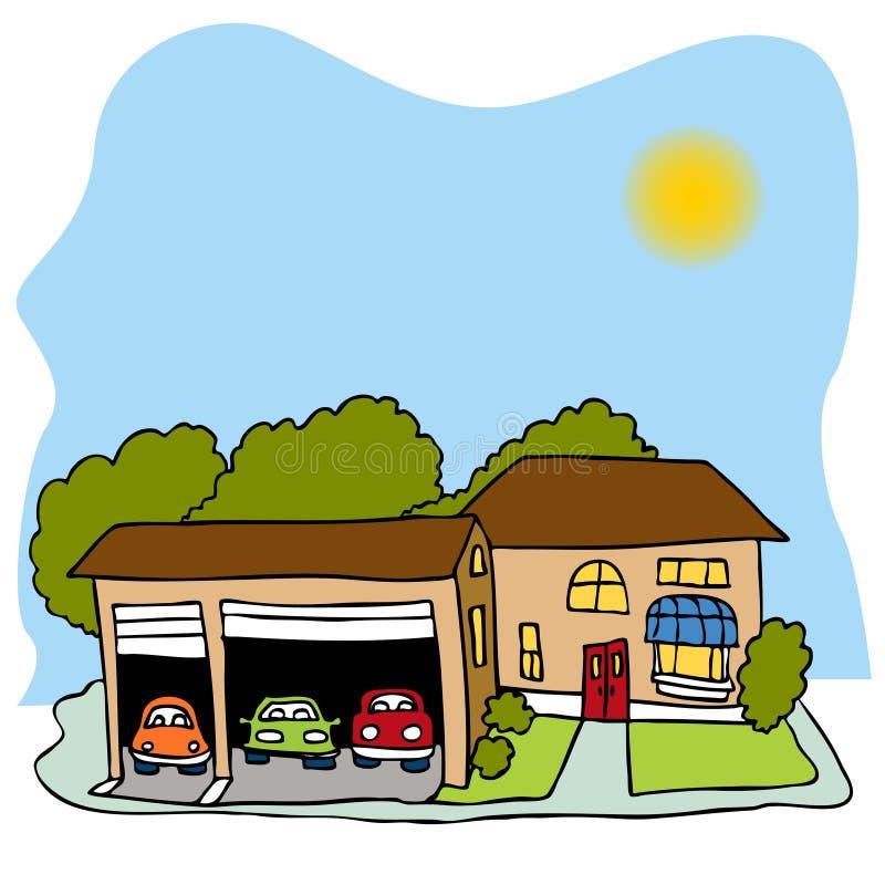 garażu samochodowy dom trzy ilustracji