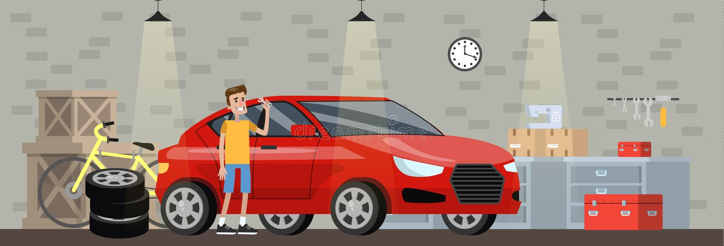 Garażuje wnętrze w domu z czerwonym samochodem ilustracja wektor