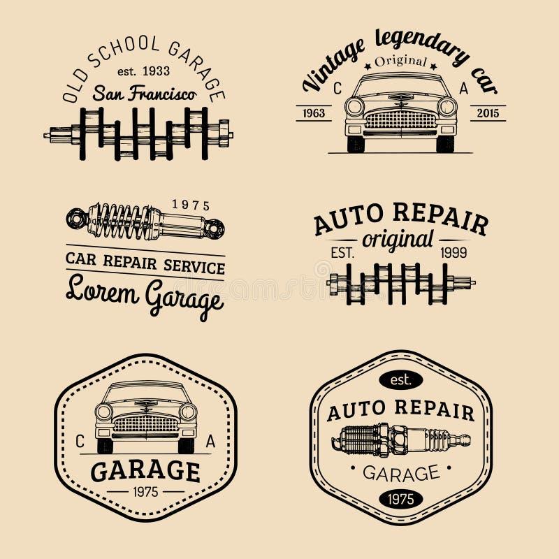 Garaży logowie ustawiający Samochodów remontowi emblematy inkasowi Wektorowy rocznik kreślił samochód usługa znaki dla reklamowyc ilustracji