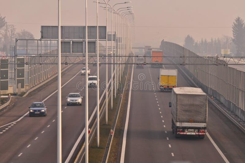 Gara motociclistica su pista S17 vicino a Lublino, Polonia fotografie stock