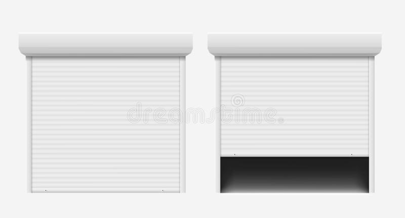 Gara?u drzwi Automatyczny budowy drzwi, aluminiowej żaluzji wejściowy stalowy drzwi Zabezpiecza rolkowego żaluzji gacenia system ilustracja wektor