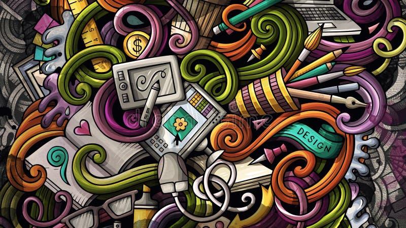 Garabatea el ejemplo del diseño gráfico Fondo creativo del arte ilustración del vector