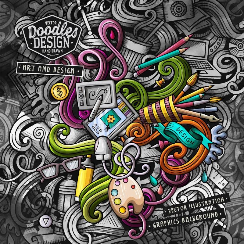 Garabatea el ejemplo del vector del diseño gráfico Fondo creativo del arte stock de ilustración