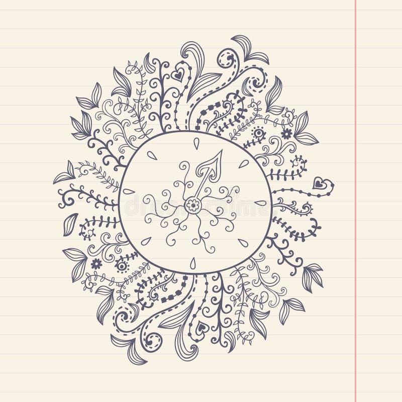 Garabatea el marco floral en el papel del grunge, ejemplo del vector Mano stock de ilustración