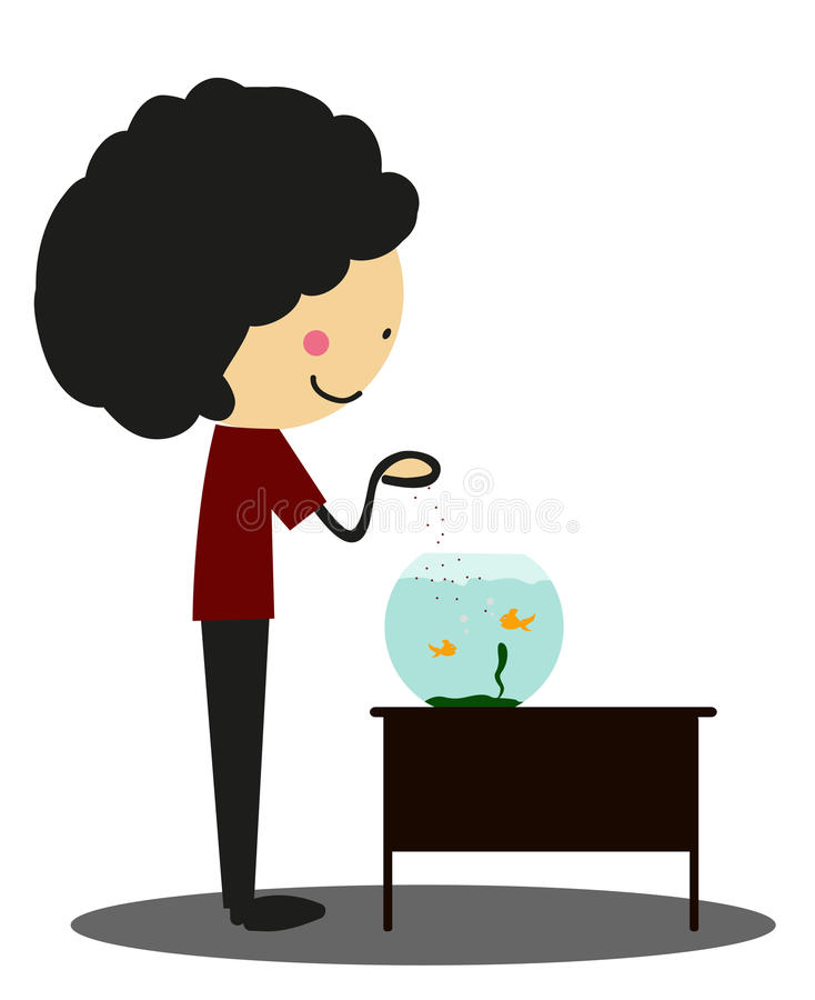 Garabatee al niño pequeño para mantener los pescados el acuario - a todo color stock de ilustración