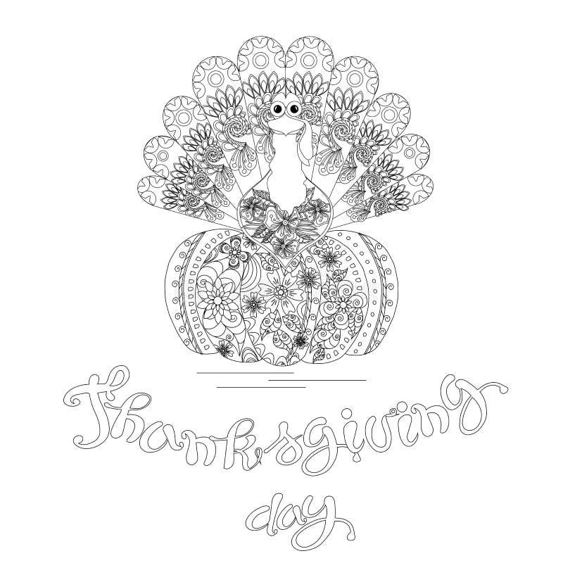 Garabatee el bosquejo del estilo del pavo el día de la acción de gracias de las letras de la calabaza ilustración del vector