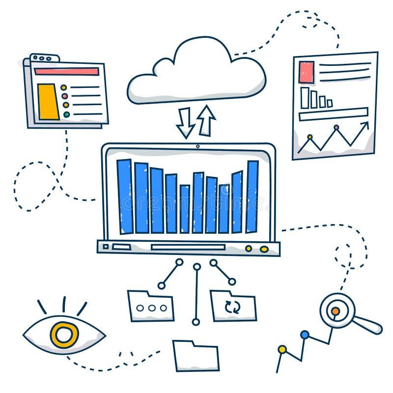 Garabatee el concepto del estilo de investigación general y el análisis, solución de problemas, recogiendo datos, las tecnologías libre illustration