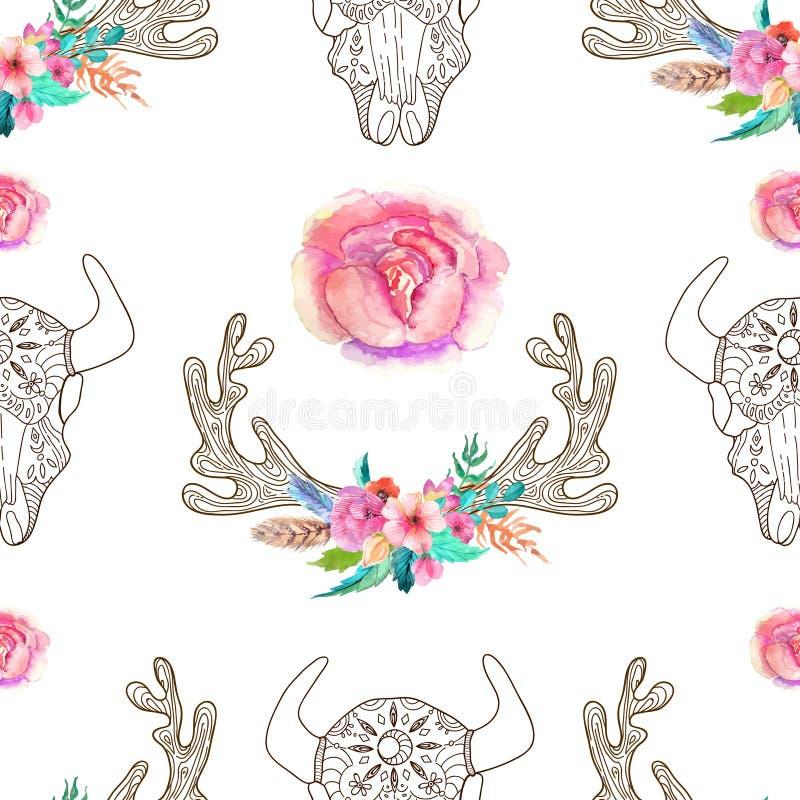 Garabatee el cráneo y los cuernos del toro con las flores y las plumas de la acuarela libre illustration