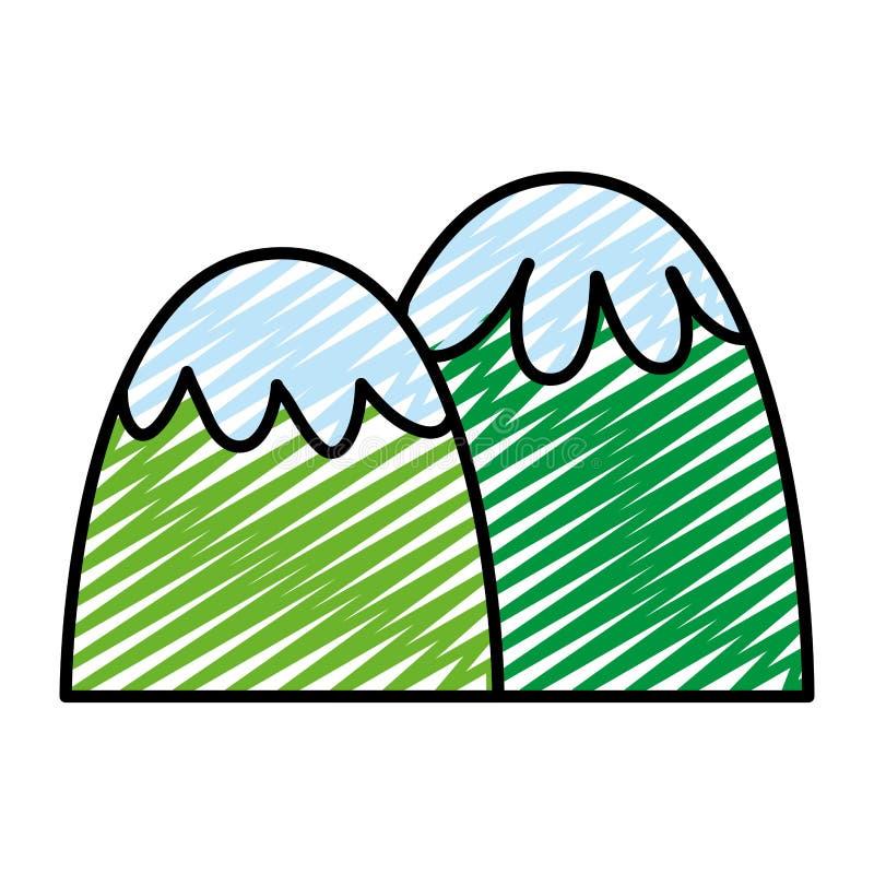 Garabatee el diseño scenary de las montañas exóticas de la belleza ilustración del vector