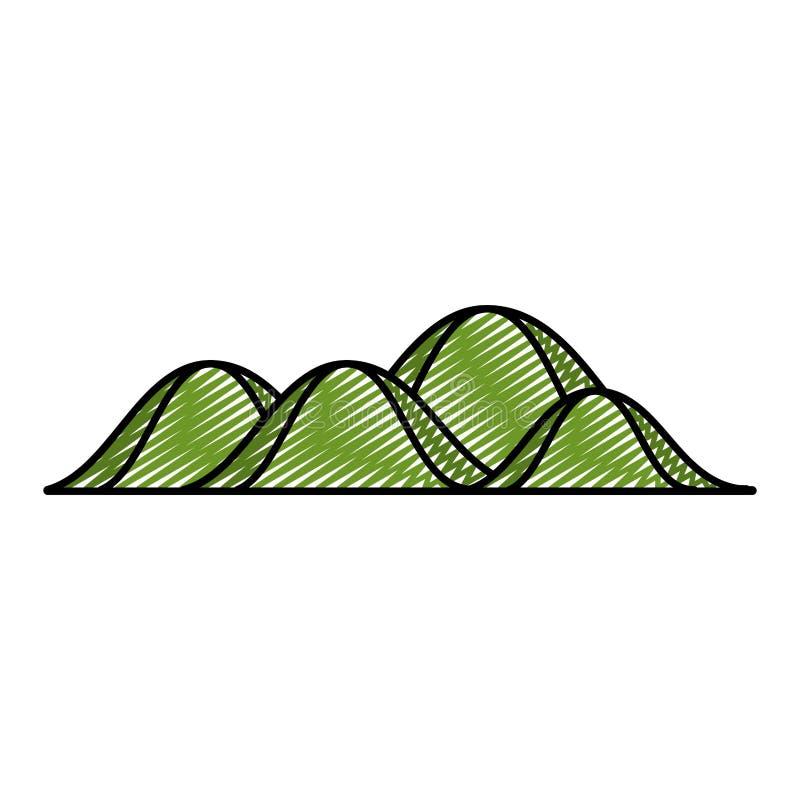 Garabatee el estilo de la naturaleza de la ecología de la montaña de la belleza ilustración del vector
