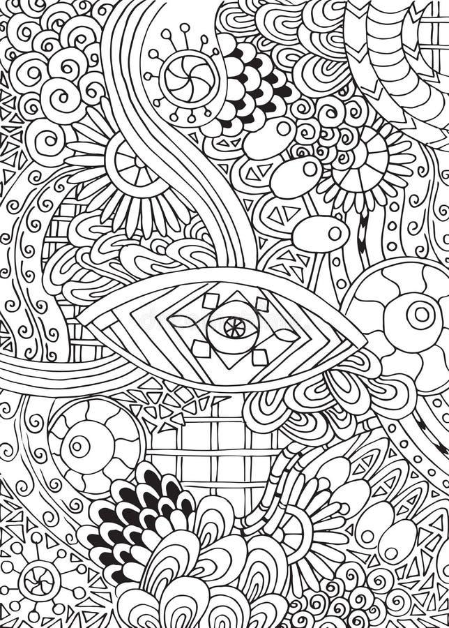 Garabatee el fondo en vector con garabatos, las flores y Paisley ilustración del vector