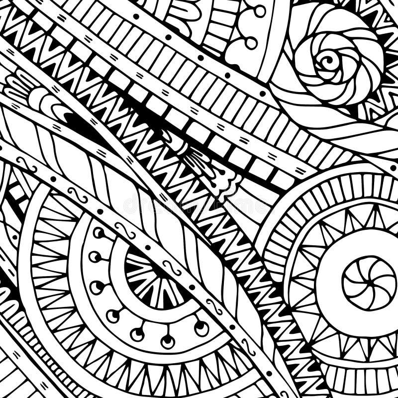 Garabatee el fondo en vector con garabatos, las flores y Paisley Rebecca 36 ilustración del vector