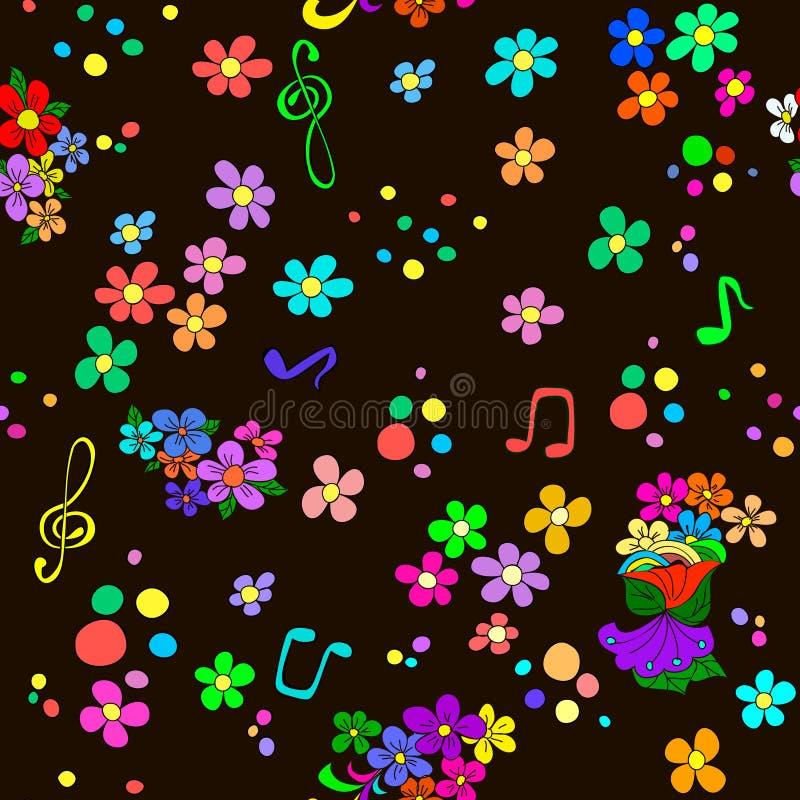 Garabatee el modelo con las flores y los remolinos, notas, libre illustration