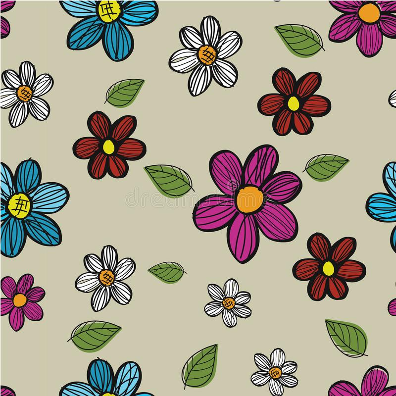Garabatee el modelo de flores dibujado mano en el fondo del color del vintage, fondo inconsútil del modelo stock de ilustración