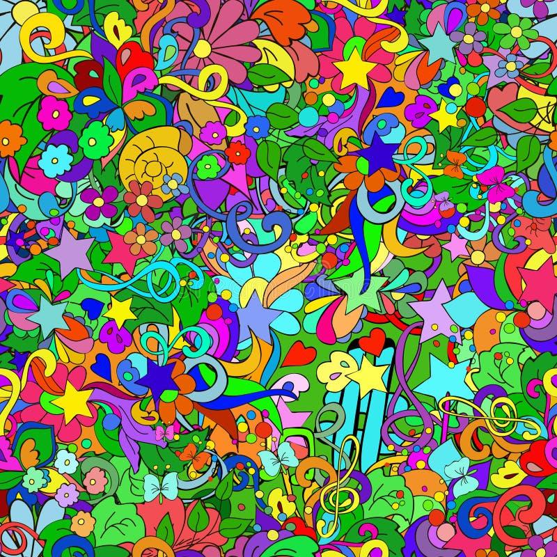 Garabatee el modelo inconsútil con las flores, remolina, protagoniza y se va libre illustration