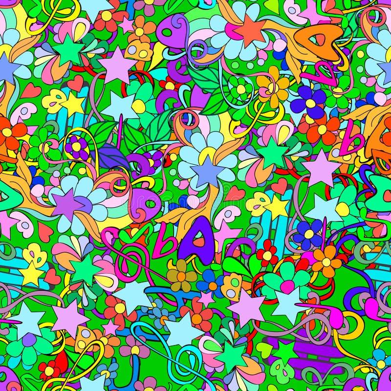 Garabatee el modelo inconsútil con las flores y los remolinos, notas, llave escrituraria, letra stock de ilustración