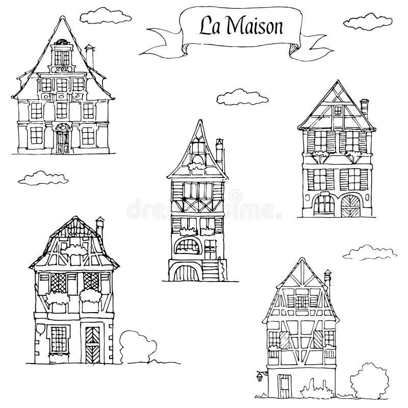 Garabatee la casa del bosquejo en un estilo europeo tradicional stock de ilustración