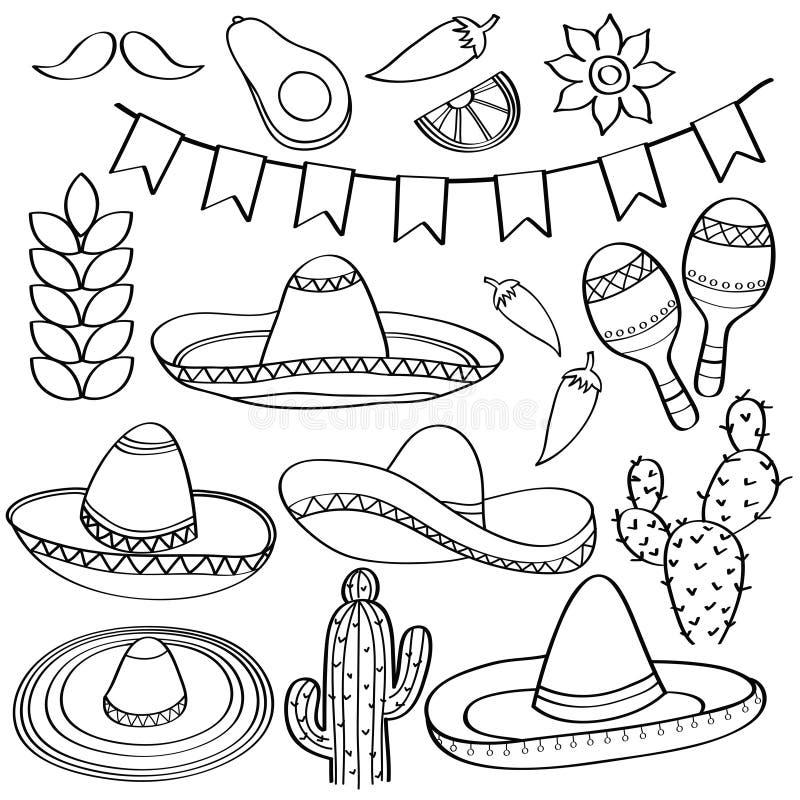 Garabatee la colección del símbolo de México aislada en blanco y negro para stock de ilustración