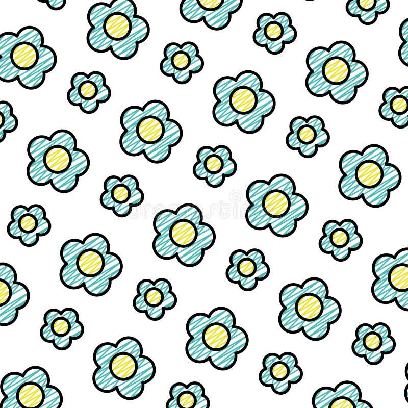Garabatee la flor exótica de la belleza con el fondo de los pétalos stock de ilustración