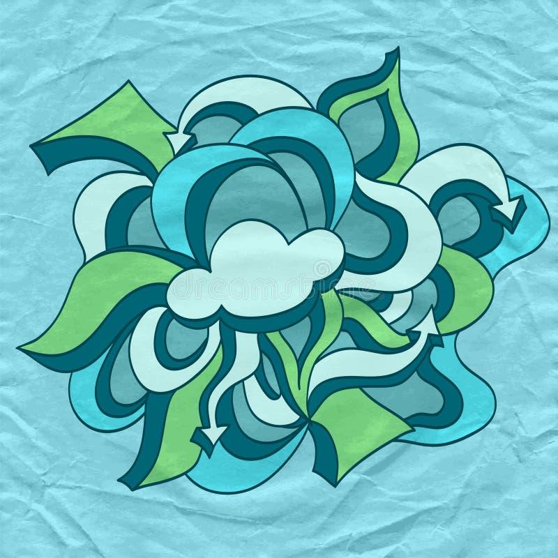 Garabatee la nube con las flechas en el papel arrugado viejo en azul libre illustration