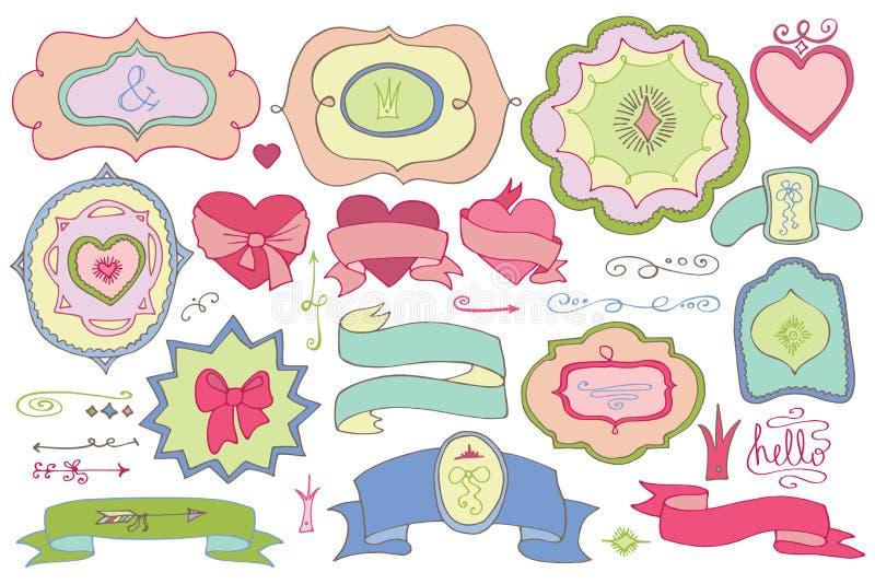 Garabatee las etiquetas coloreadas, insignias, elemento de la decoración Amor stock de ilustración