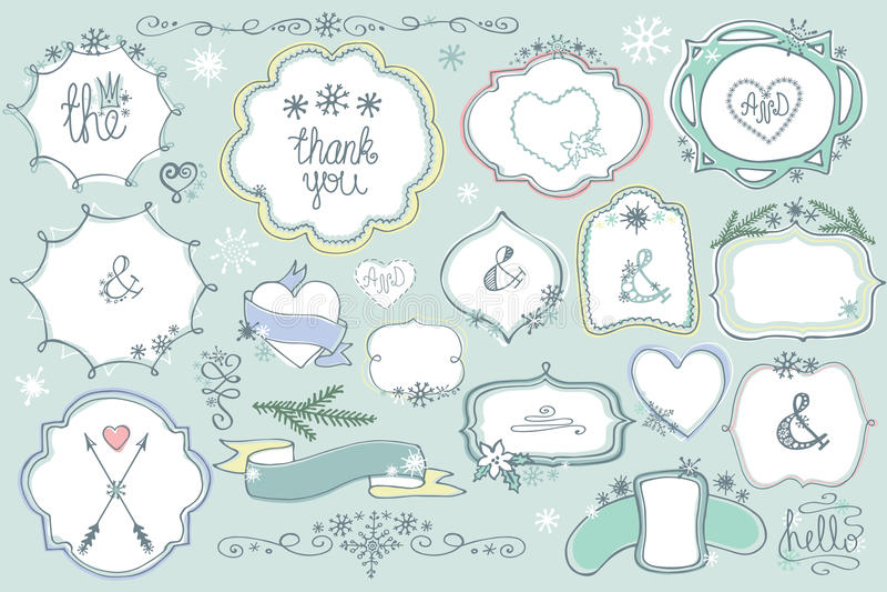 Garabatee las etiquetas coloreadas, insignias, marco, sistema del invierno del elemento de la decoración libre illustration