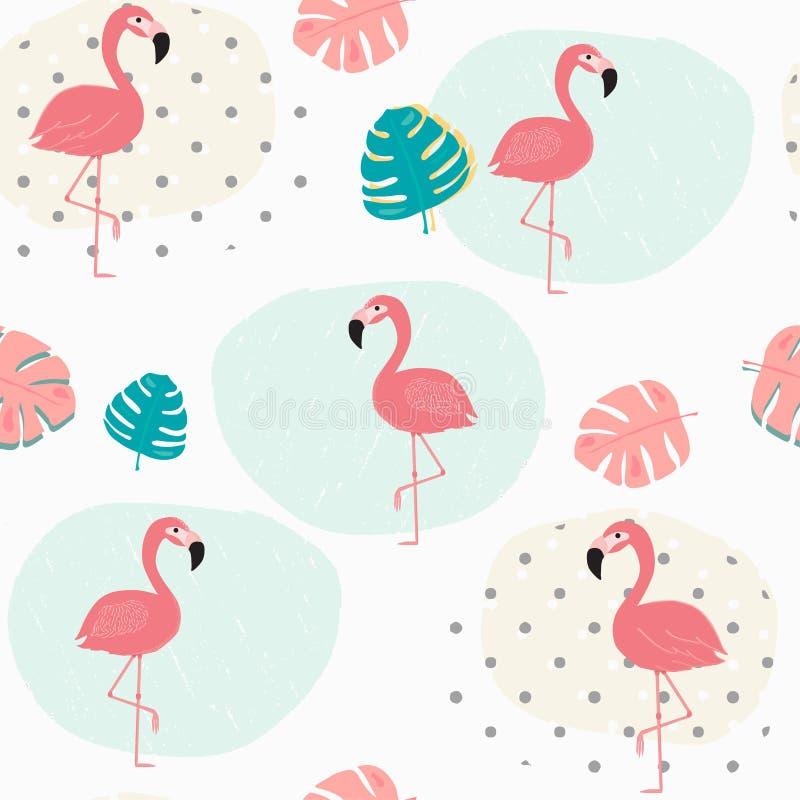 Garabatee las hojas tropicales en colores pastel del verano y el fondo inconsútil del modelo rosado del flamenco libre illustration