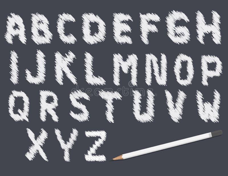 Garabatee las letras, la muestra y los símbolos del alfabeto del vector con el lápiz en fondo negro libre illustration
