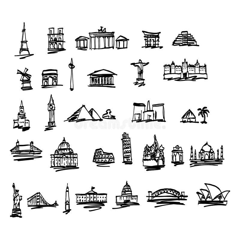 Garabatee las señales y los lugares famosos en el illustrat del vector del mundo ilustración del vector