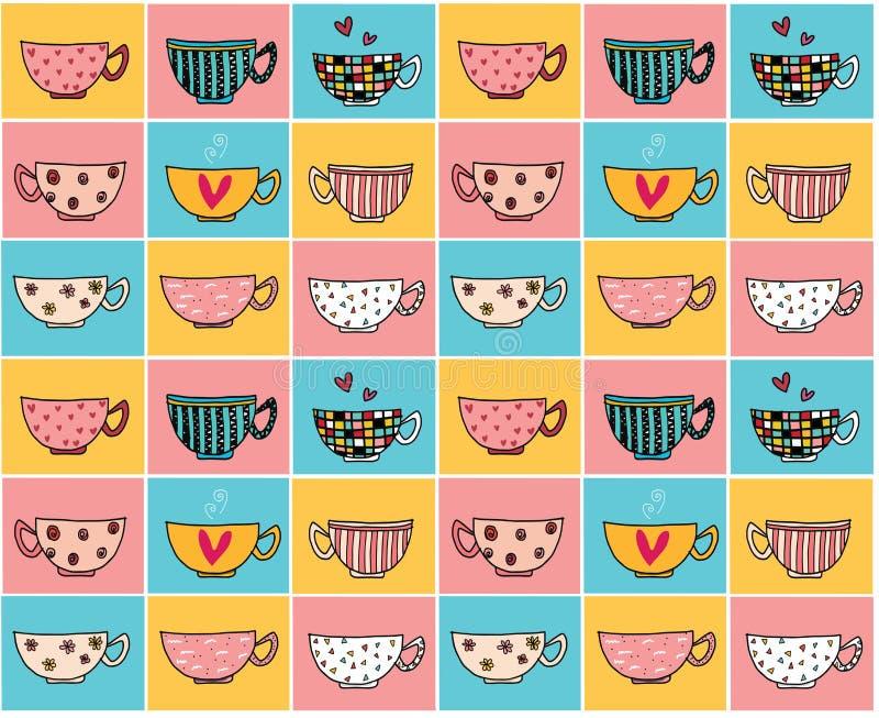 Garabatee las tazas de café del dibujo de la mano en diversos diseños en el modelo del fondo del vintage del color inconsútil ilustración del vector