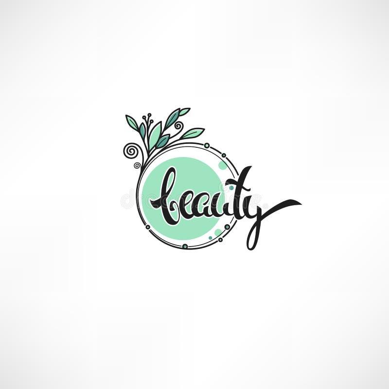 Garabatee los marcos y el logotipo de los emblemas de las flores con la letra del estudio de la belleza stock de ilustración