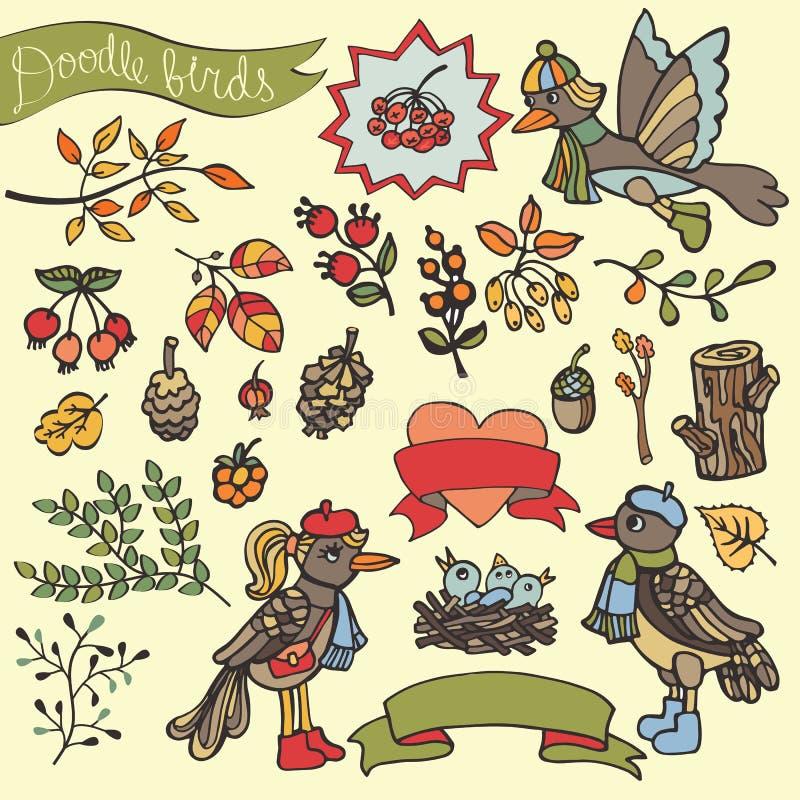 Garabatee los pájaros, bayas, braches, madera, decoración Arbolado del otoño stock de ilustración