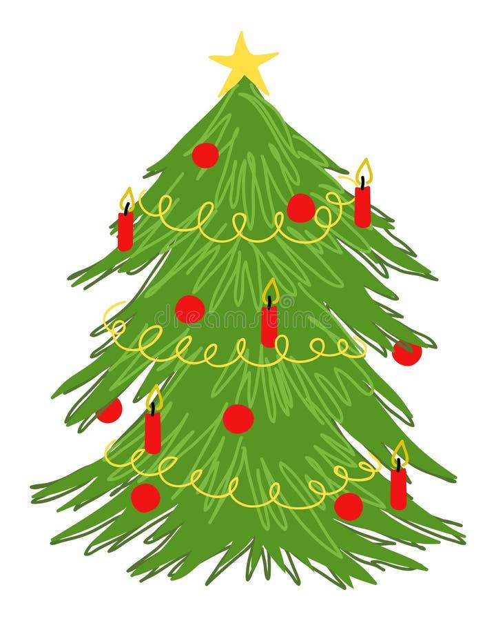 Garabato adornado del árbol de navidad, dibujo colorido del vector, árbol adornado con las velas rojas, ornamentos de la bola de  ilustración del vector