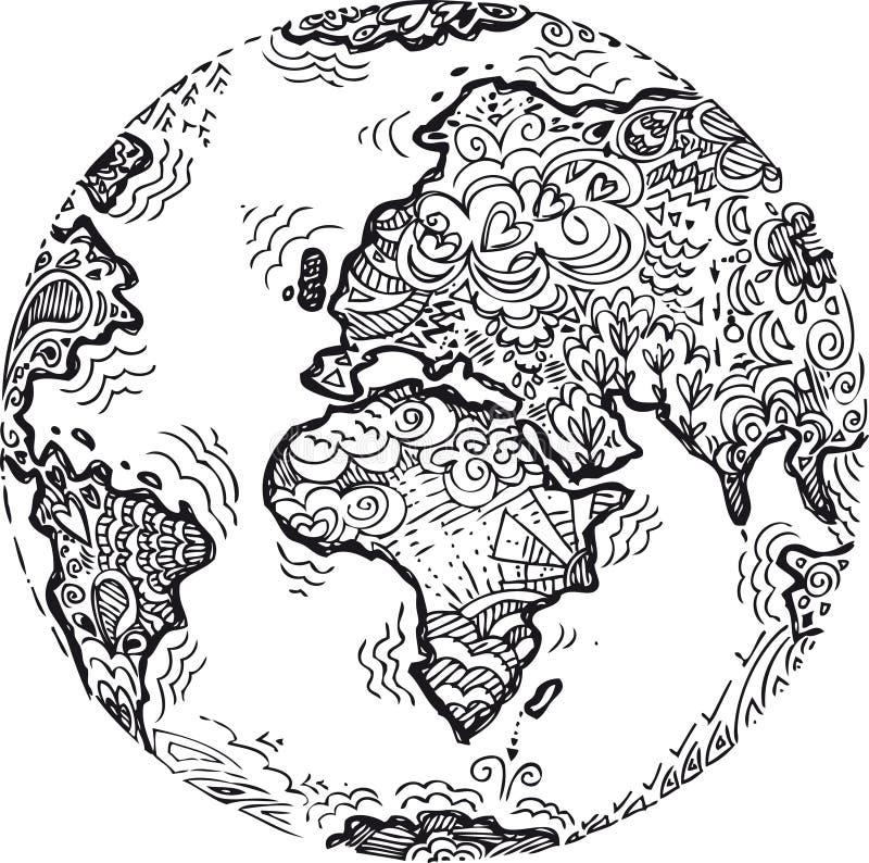 Garabato bosquejado tierra del planeta stock de ilustración