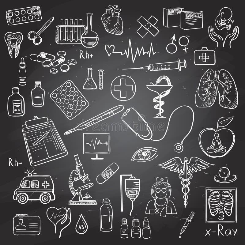 Garabato de la atención sanitaria y de la medicina stock de ilustración